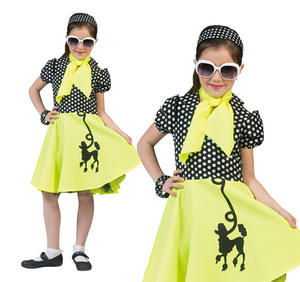 Childrens Yellow Poodle Fancy Dress Costume 1950s Rock N Roll Outfit 3-10 Yrs
