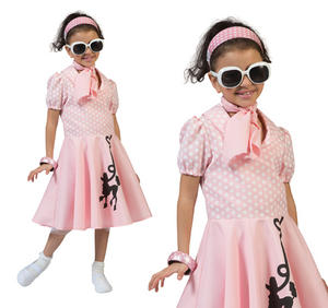 Childrens Pink Poodle Fancy Dress Costume 1950s Rock N Roll Outfit 3-10 Yrs
