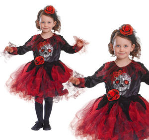 Childrens Red & Black Skull Tutu Fancy Dress Costume Halloween Outfit 3-8 Yrs