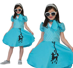 Childrens Blue Poodle Fancy Dress Costume 1950s Rock N Roll Outfit 3-10 Yrs