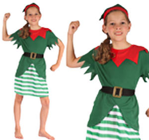 Childrens Green Elf Fancy Dress Costume Christmas Outfit Girls Kids 3-10 Yrs