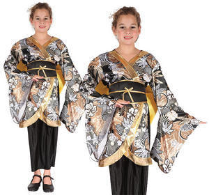 Childrens Black & Gold Geisha Girl Fancy Dress Costume Oriental Outfit 3-10 Yrs