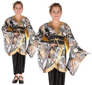 Childrens Black & Gold Geisha Girl Fancy Dress Costume Oriental Outfit 3-10 Yrs
