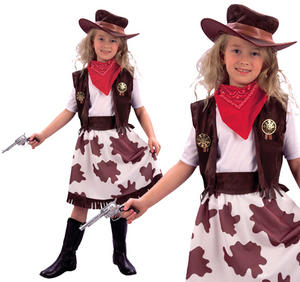Childrens Cowgirl Fancy Dress Costume Cowboy Girls Childs Kids Outfit 3-13 Yrs