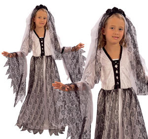 Childrens Corpse Bride Fancy Dress Costume Halloween Zombie Outfit 3-13 Yrs