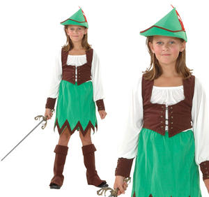 Childrens Robin Hood Girls Fancy Dress Costume Book Week Outfit Kids 3-13 Yrs
