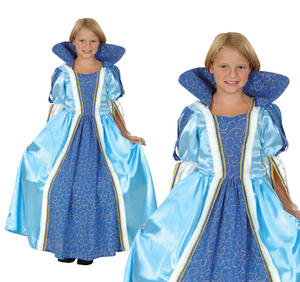Childrens Blue Princess Fancy Dress Costume Queen Kids Book Week Outfit 3-10 Yrs