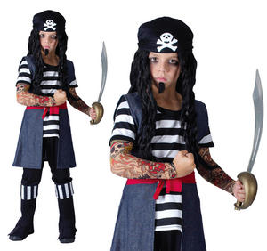 Childrens Tattoo Pirate Fancy Dress Costume Kids Halloween Outfit 3-10 Yrs