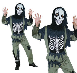 Childrens Skeleton Zombie Fancy Dress Costume Halloween Outfit Kids 3-13 Yrs