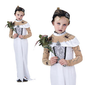Childrens Zombie Bride Fancy Dress Costume Halloween Corpse Outfit 3-13 Yrs