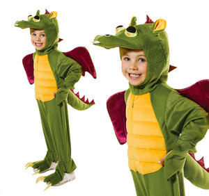 Childrens Green Dragon Fancy Dress Costume Halloween Outfit Childs 5-10 Yrs