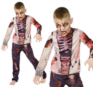 Childrens Zombie Fancy Dress Costume Halloween Skeleton Outfit Childs 5-10 Yrs