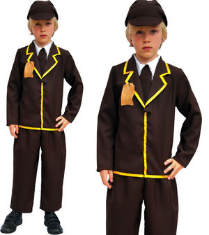 Childrens Evacuee Boy Fancy Dress Costume Victorian Oliver Twist Outfit 6-10 Yrs
