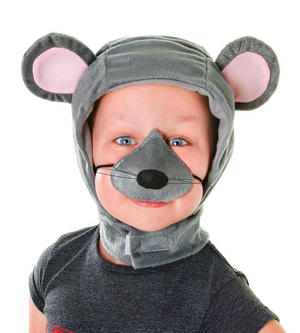 Childrens Grey Mouse Fancy Dress Costume Kit - Hood & Nose Set Nativity Animal