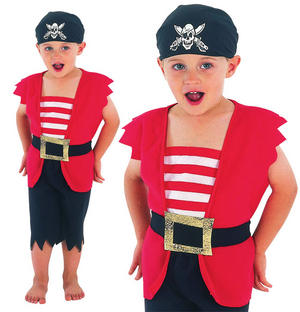 Childrens Kids Pirate Boys Fancy Dress Costume Buccaneer Kids Outfit 2-3 Yrs