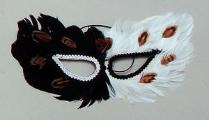 Black & White Feather Eye Mask Owl Masquerade Ball Fancy Dress