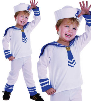 Childrens Kids White Sailor Boy Fancy Dress Costume Nautical Outfit 2-3 Yrs