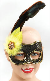 Black & Yellow Feather Masquerade Ball Eye Mask Venetian Fancy Dress