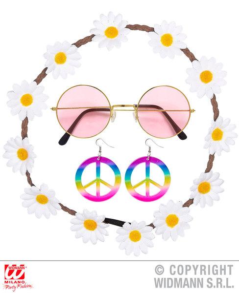 Hippie Set Flower Headband, Earrings, Glasses Ladies Womens Fancy Dress Costume
