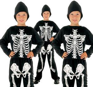 Childrens Kids Skeleton Fancy Dress Costume Halloween Boys Outfit 2-10 Yrs