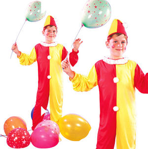 Childrens Kids Clown Fancy Dress Costume Circus Halloween Outfit 3-10 Yrs