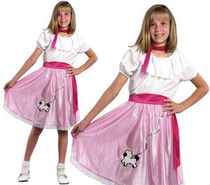 Childrens Kids Pink Ladies Fancy Dress Costume 1950S Grease Girl Outfit 3-10 Yrs