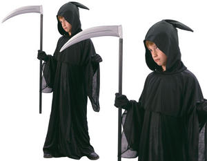 Childrens Kids Grim Reaper Fancy Dress Costume Death Halloween Outfit 3-10 Yrs