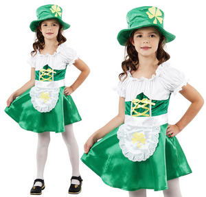 Childrens Leprechaun Girl Fancy Dress Costume St Patricks Day Outfit 3-10 Yrs