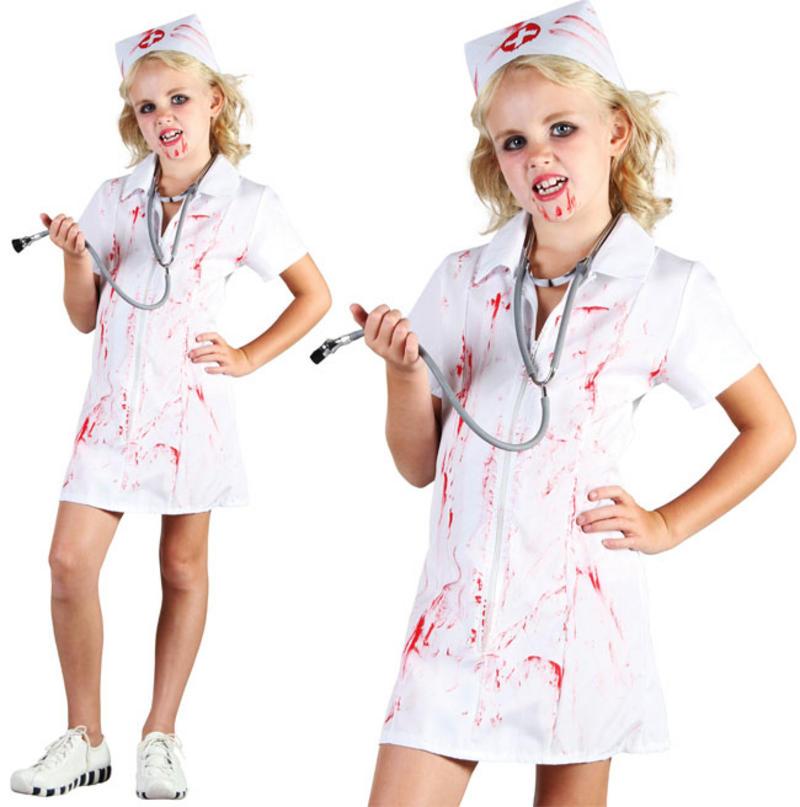 ccb58e1f1e6 Childrens Kids Zombie Nurse Fancy Dress Costume Halloween Outfit Childs  6-10 Yrs
