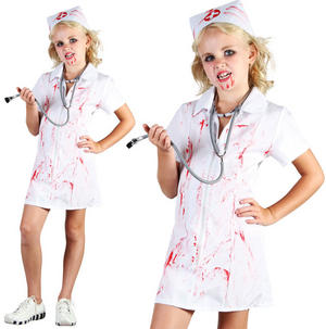 Childrens Kids Zombie Nurse Fancy Dress Costume Halloween Outfit Childs 6-10 Yrs