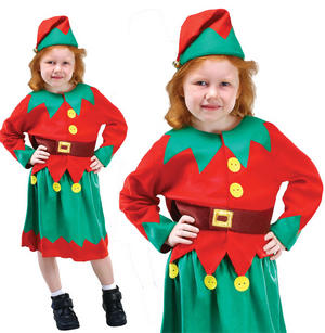 Childrens Kids Christmas Elf Fancy Dress Costume Santas Little Helper 3-10 Yrs