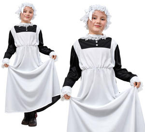 Childrens Kids Victorian Maid Fancy Dress Costume Childs Servant Outfit 7-10 Yrs