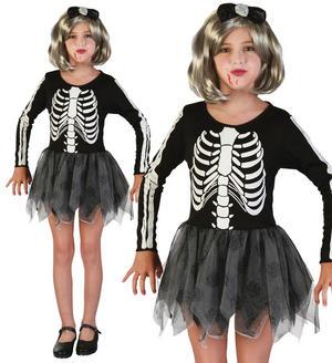 Childrens Kids Skeleton Girl Halloween Fancy Dress Costume Outfit 2-10 Yrs