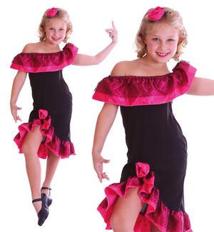 Childrens Kids Flamenco Dancer Girl Fancy Dress Costume Spanish Outfit 3-10 Yrs
