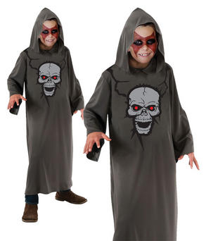 Childrens Kids Grey Skull Hood Robe Halloween Grim Reaper Fancy Dress 7-10 Yrs