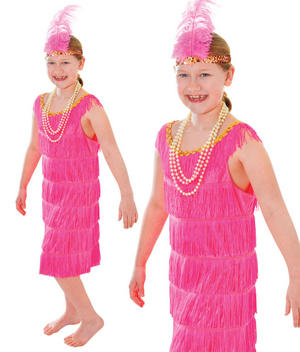 Childrens Kids Pink Flapper Fancy Dress Costume Charleston 1920s Outfit 3-10 Yrs