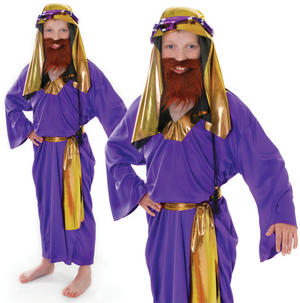 Childrens Kids 3 Wise Men Fancy Dress Costume Boys Nativity Play Outfit 3-8 Yrs