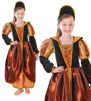 Childrens Kids Tudor Queen Fancy Dress Costume Outift & Headband Girls 3-8 Yrs