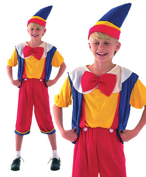 Childrens Kids Pinocchio Fancy Dress Costume Book Week Boys Outfit 3-13 Yrs