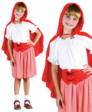 Childrens Kids Little Red Riding Hood Girls Fancy Dress Costume Outfit 3-13 Yrs