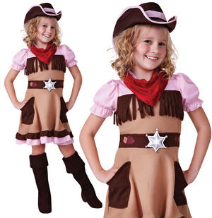 Childrens Kids Cowgirl Fancy Dress Costume Girls Outfit Cow Girl Jessie 3-10 Yrs