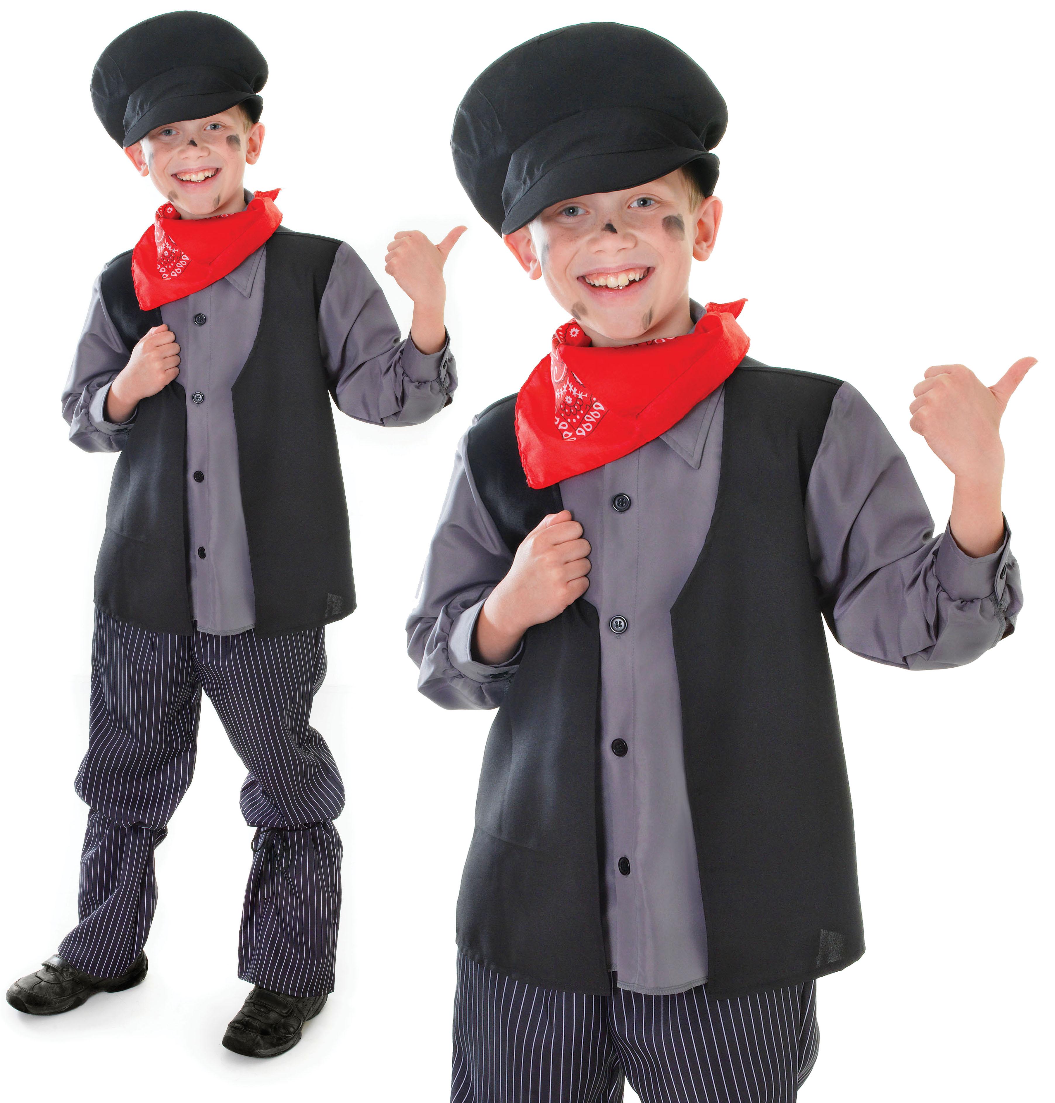 Childrens Kids Chimney Sweep Fancy Dress Costume Bert Mary
