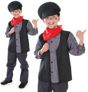 Childrens Kids Chimney Sweep Fancy Dress Costume Bert Mary Poppins 6-10 Yrs