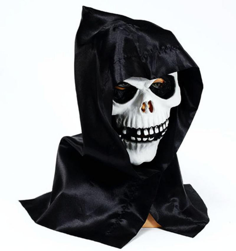 Scary Skull Mask & Hood Halloween Fancy Dress