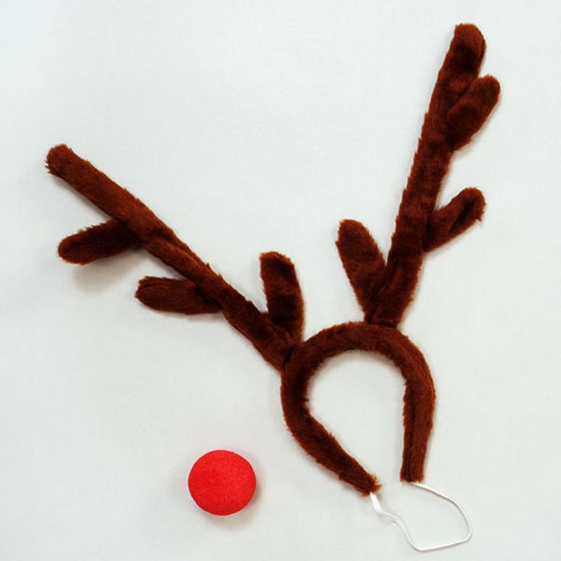 Christmas Reindeer Rudolph Fancy Dress Set Kit Stag Horns Night Do