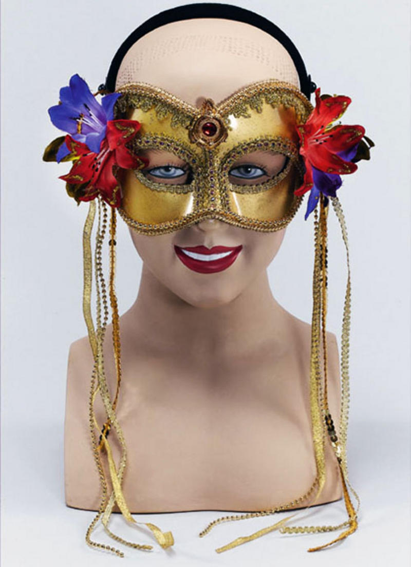 Gold Masquerade Mask With Side Flowers Fancy Dress