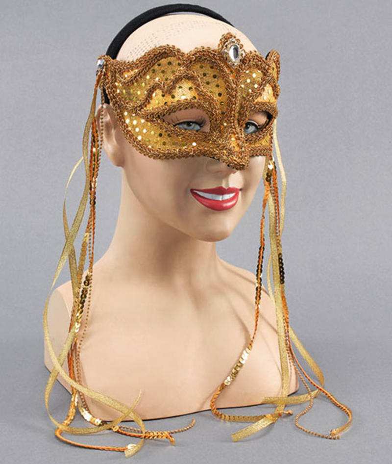 Gold Masquerade Mask With Tassels Fancy Dress