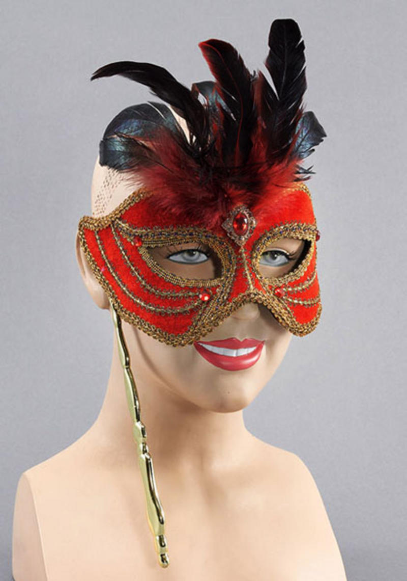 Red Mask With Feathers On Stick Fancy Dress