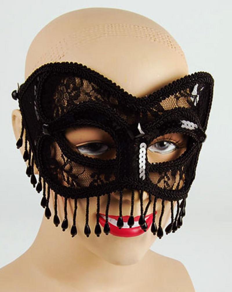 Black Lace Mask With Tassels Fancy Dress
