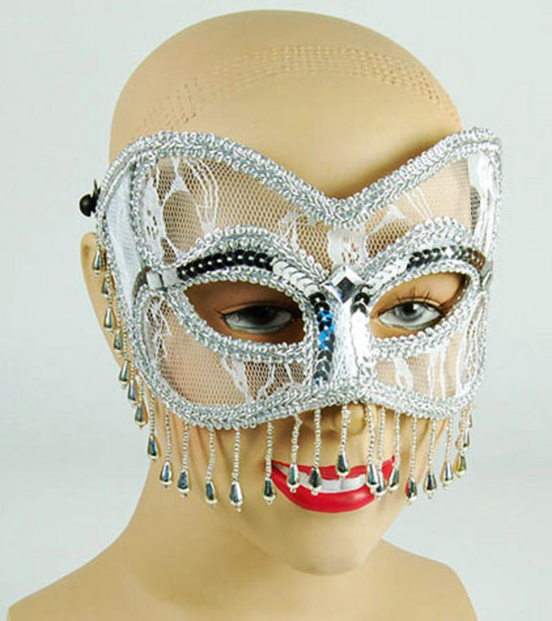White And Silver Lace Mask With Tassels Fancy Dress